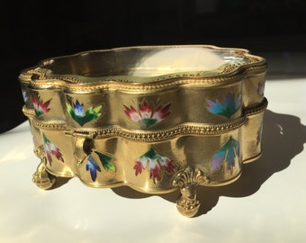 Vintage Brass Jewelry Box with Floral Detail