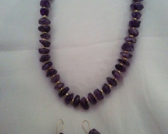 Amethyst Chip Necklace with Earrings set vintage