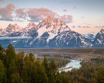 Snake River Morning, Fine Art Canvas Gallery Wrap or Giclee Flat Print, Landscape, Nature Photography, Morning, Grand Teton Range, Mountain