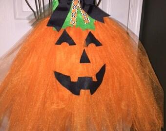 Halloween Pumpkin Baby Girl Orange Tutu Dress Set