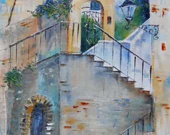Painting The staircase of Camogli (Italy)