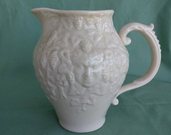IRISH PORCELAIN BELLEEK Pitcher, Mask Tea Ware pattern, Vintage, Collectible, 7th Mark, Gold mark.