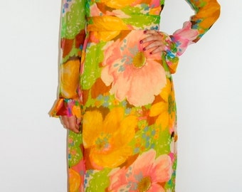 XS 1960's/1970's Bright Floral Maxi Dress Betty Draper Mad Men Size Extra-Small