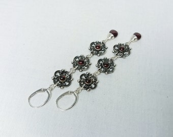 Antique 800 Silver and Deep Red Garnet Dangle Earring