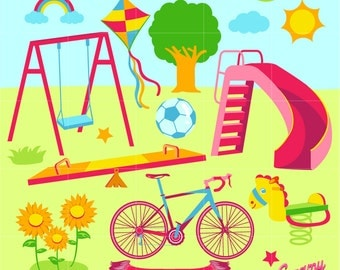 Playground Digital Vector Clip art / Play Time Clipart Design Illustration / Swing, Bicycle, Kite, Slides, Soccer, See Saw, Park, Outdoor/