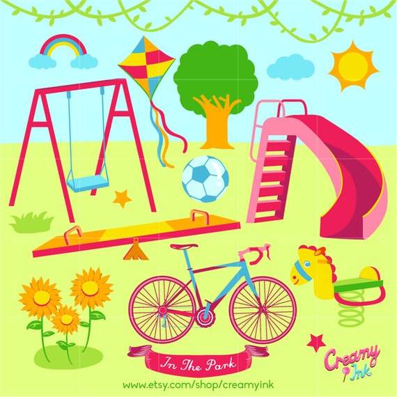 Playground Digital Vector Clip art / Play Time Clipart ...