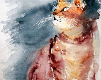 Cat watercolor-  Original painting, Original Watercolor, cat painting