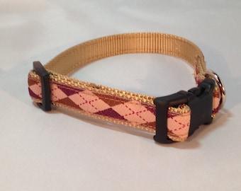 Argyle Dog Collar - Gold and Burgundy
