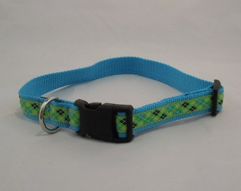 Argyle Dog Collar-Navy, Teal and Green, boy dog collar,small or large dogs