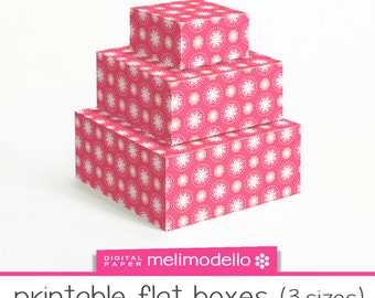 "Printable flat boxes ""Lucienne"" coral, 3 sizes, download, downloadable, DIY"
