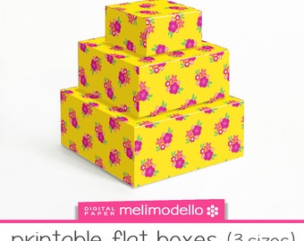 """printable flat boxes """"Georgette"""", 3 sizes, download,"""