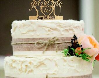 Wedding Cake Topper, God Gave Me You CakeTopper, Wedding decoration, Cake decor, Free Base Display, Rustic Wedding Cake topper.