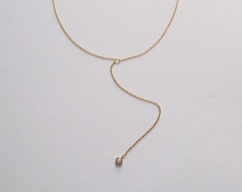 CZ Drop Lariat Necklace, Dainty Minimal Y Necklace, Simple Layering Necklace in Sterling Silver #DY1