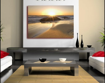 Serene Sandy Sunset Canvas Wall Art Print Large single Canvas (FRAMED>UK ONLY)Poster or Box Framed Contemporary Modern!