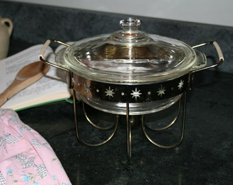 Vintage Fire King Casserole with Gold Star warmer