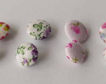 FABRIC COVERED BUTTONS Crafting Accessories Decorations Floral Print Wrapped Round, 12 Buttons