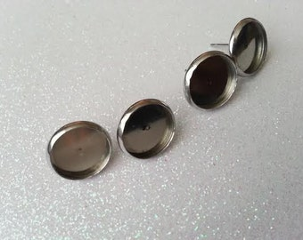 12mm Stainless Steel Bezel Earring Blank Studs - 10 Pcs (5 Pairs)