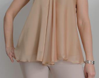Top fashion cut on the bias, top champagne, top, blouse, blouse, elegant, chic, elegant fashion, top crochet, crochet, handmade, summer top