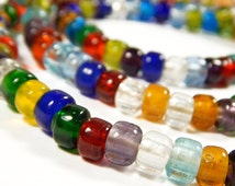 50 Pcs - 9x8mm Multicolor Glass India Crow Beads - Crow Rollers - Glass Pony Beads - Jewelry Supplies
