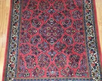"4'9"" x 6'1"" New Persian Sarouk Oriental Rug - Hand Made - 100% Wool Pile"