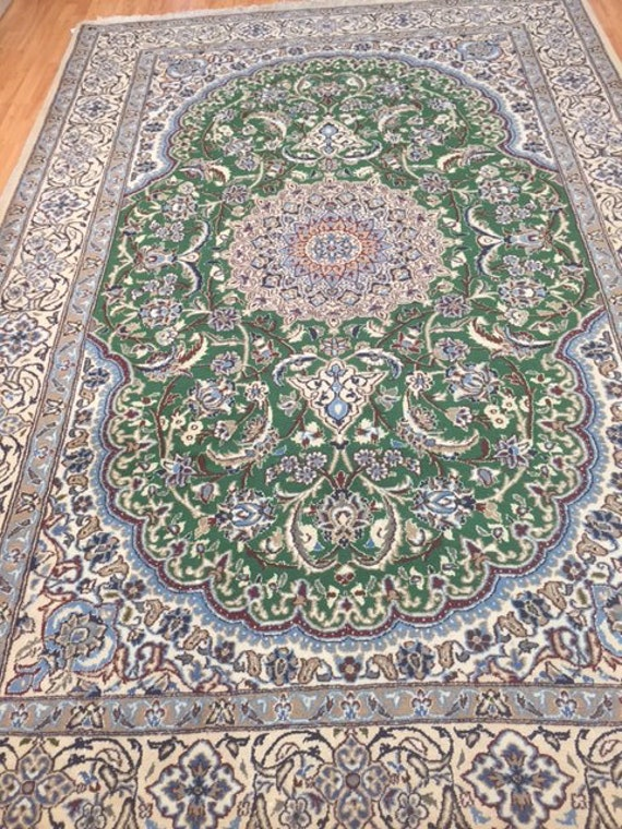 "6'7"" x 10' Persian Nain Oriental Rug - Wool & Silk - Hand Made"