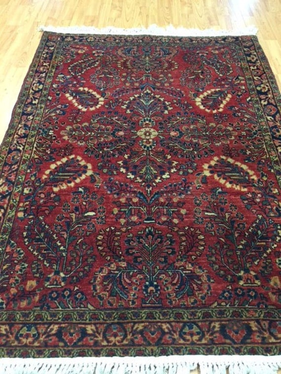 "3'4"" x 4'8"" Antique Persian Sarouk Oriental Rug - 1920s - Hand Made - Full Pile - 100% Wool - Vintage"