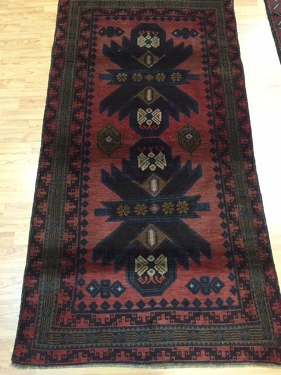 """3'4"""" x 6'4"""" Afghan Turkeman Oriental Rug - Hand Made - 100% Wool Pile"""