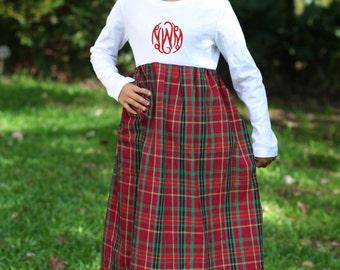 Red Plaid Monogramed T-shirt School Girl Dress