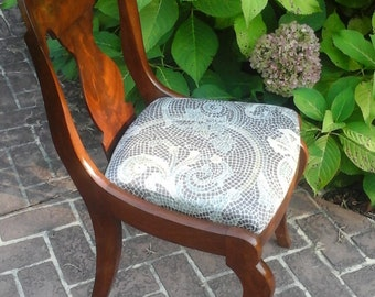 Antique Vintage Walnut Side Chair with Reupholstered Cushioned Seat