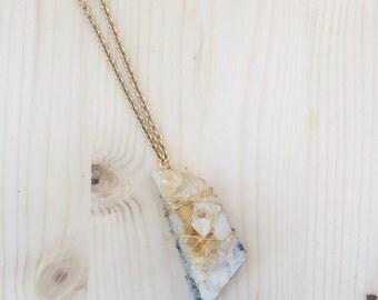 Citrine Crystal Cluster Pendant Necklace