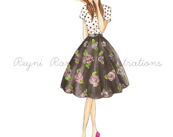 Fashion Illustration Print, Floral Black Midi