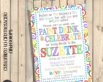Art Party Invitation, Art Party Bridal Shower, Paint and Drink, Bachelorette Party Invite, Wine and Sip Party, Paint and Wine Party, Digital