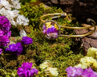 Ring of colored petals - Jewel of real dried flowers - boho vintage