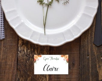Printable Thanksgiving Place Cards (digital file)