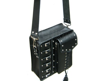 """Black real leather bag """"Dark in Metal ll"""" decorated with rivetsa and buckles"""