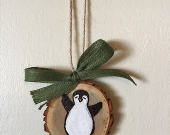 Wood Slice Ornament, Penguin Ornament, Wood Burning, Hand Painted Ornament, Gift Tag