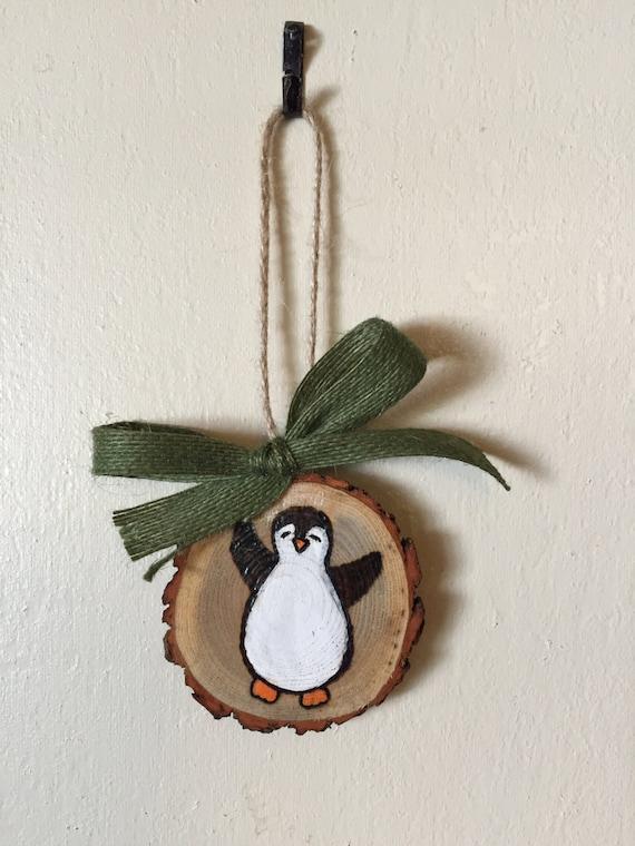 Wood Slice Ornament Penguin Ornament Wood Burning Hand