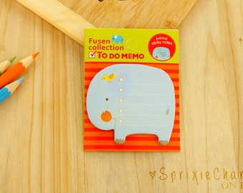 Mini Elephant Sticky Notes / Cute Kawaii Animal Sticky Notes / Stationery / Stationary / School Supplies / Memo Pad / Bookmark / Small Notes