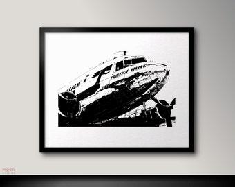 Plane wall art, DC3, Plane print, Plane art, Black and white printable wall art, Plane wall art, Black and white art print, Plane poster