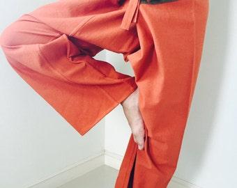 2 TONE Thai Fisherman Pants Cotton Orange and Green Stripe