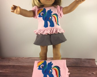 Matching Girl Doll Shirts;Girl And Doll;Rainbow Pony;Made To Match;Dollie And Me;Girls Christmas Gift;18 Inch Doll Clothes;Custom Doll Shirt