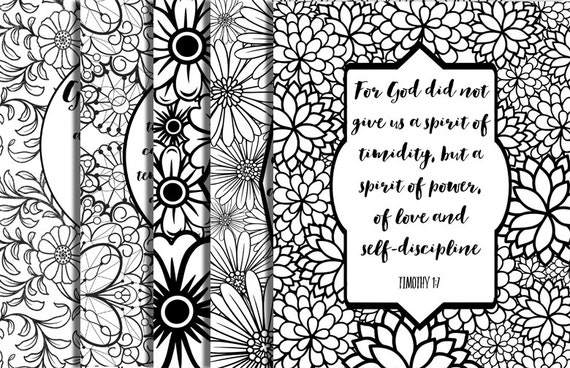 5 bible verse coloring pages floral frames inspirational quotes adult coloring diy instant download printable party family activities