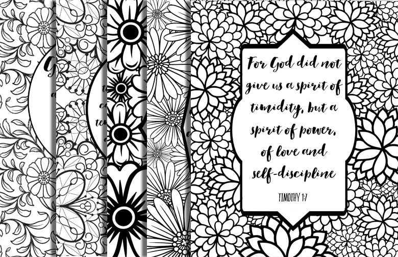 5 Bible Verse Coloring Pages Floral Frames Inspirational