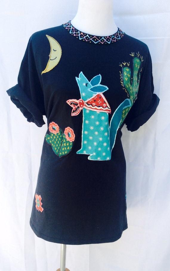 90 39 s black fabric paint t shirt puff paint southwestern Puffy paint shirt designs