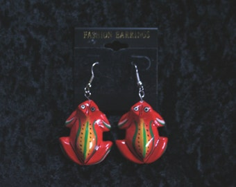 Tree frog handpainted earrings