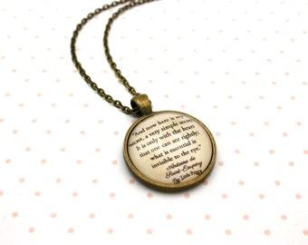 The Little Prince, 'Here Is My Secret', Antoine de Saint-Exupéry Quote Necklace or Keychain