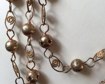 "Vintage Retro BOHO Goldtone Metal Bead Necklace Single Strand 78"""