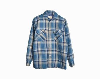 Vintage 1970s Blue Plaid Shirt Jacket / Lumberjack Shirt Jacket