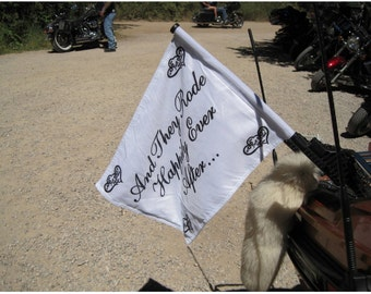 Motorcycle Wedding Just Married Flag