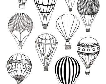 Hot Air Balloons || A4 Print